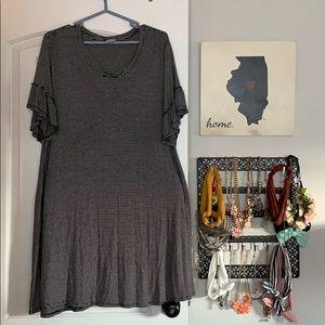 Striped peplum ruffle sleeved dress